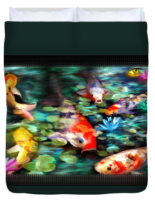 Koi Duvet Cover featuring the painting Koi Paradise by Susan Kinney