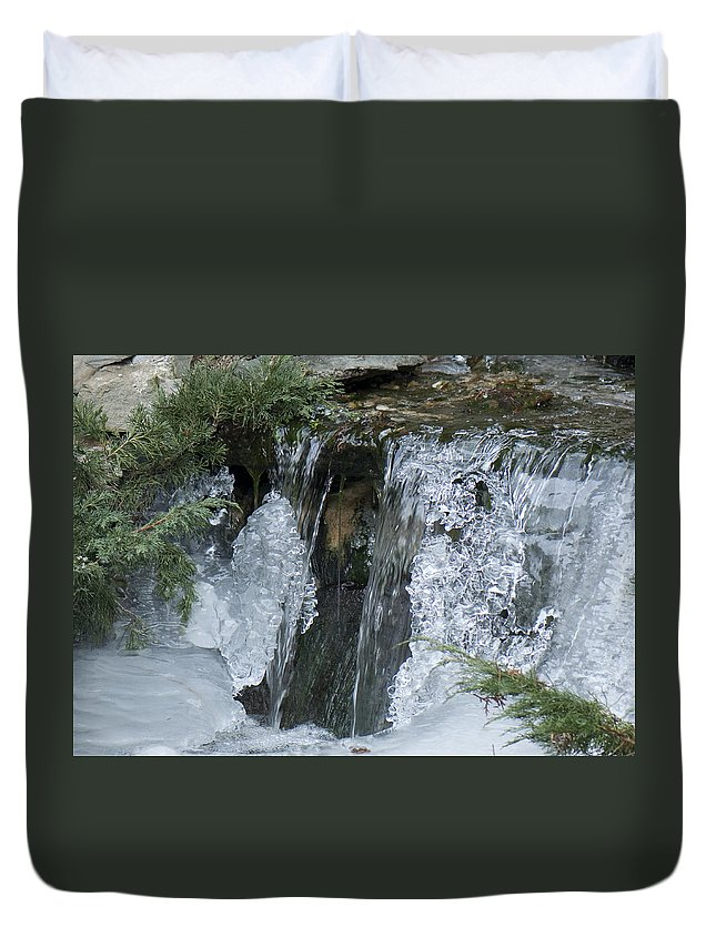 Koi Pond Duvet Cover featuring the photograph Koi Pond Waterfall by Steven Natanson