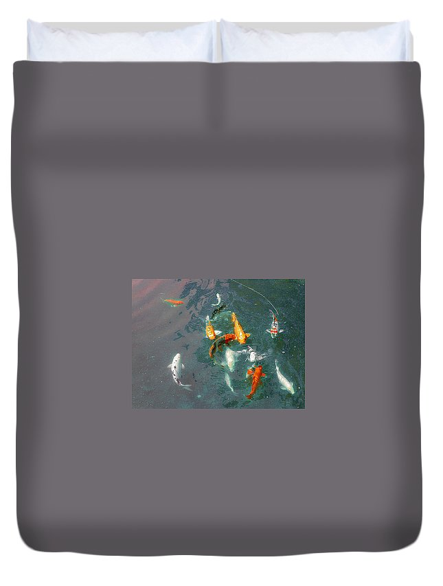 Koi Duvet Cover featuring the photograph Koi Symphony 1 Stylized by Anne Cameron Cutri