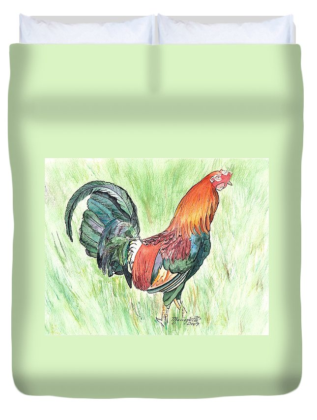 Roosters Duvet Cover featuring the painting Kokee Rooster by Marionette Taboniar