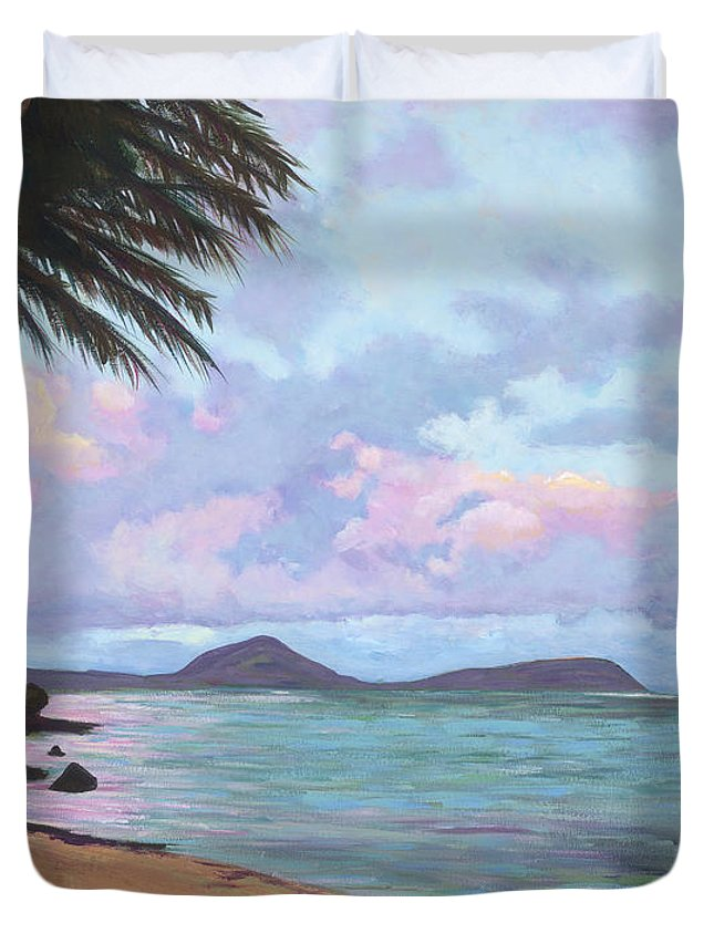Acrylic Duvet Cover featuring the painting Koko Palms by Patti Bruce - Printscapes