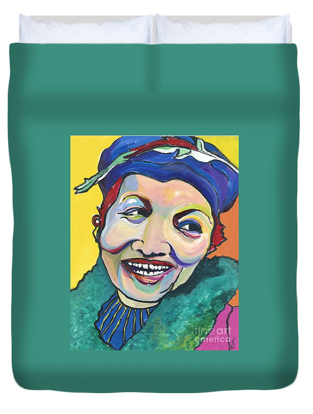 Hat Duvet Cover featuring the painting Koko Vivienne by Pat Saunders-White