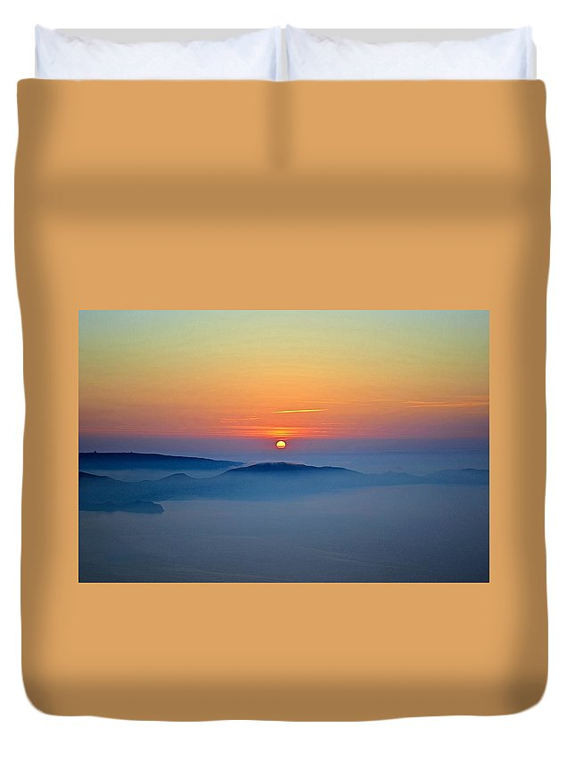 Koktebel Sunrise Duvet Cover featuring the photograph Koktebel Sunrise by Bublikov Yury