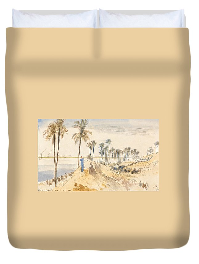 English Art Duvet Cover featuring the drawing Kom El Amhr, 1 Pm, 4 January 1867 by Edward Lear