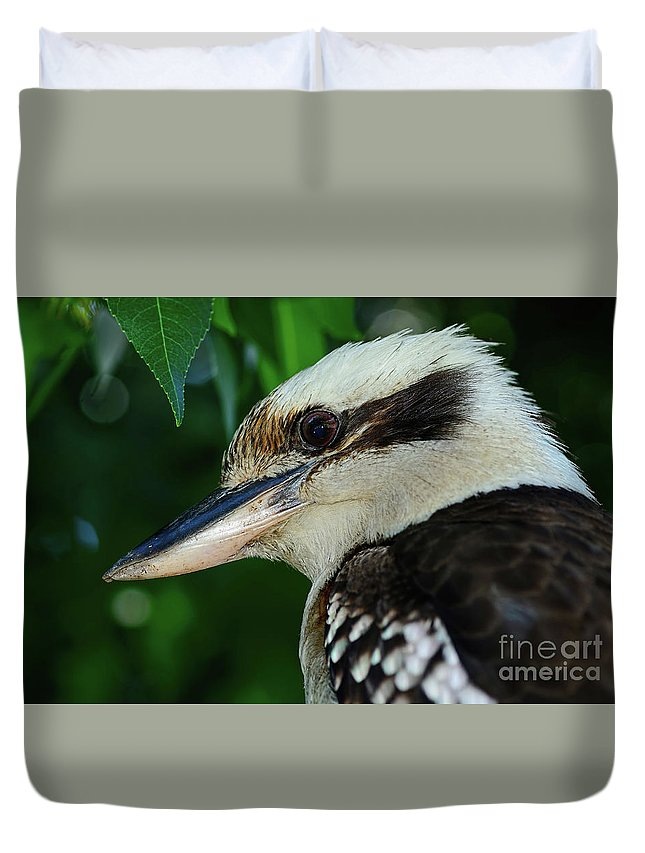 Photography Duvet Cover featuring the photograph Kookaburra Portrait By Kaye Menner by Kaye Menner