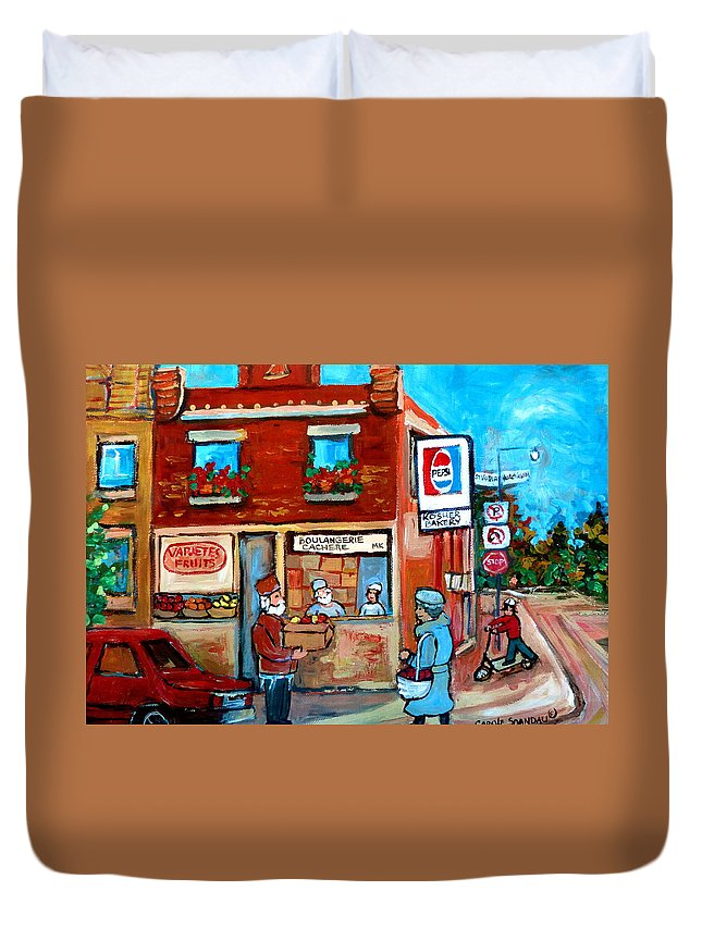 Kosher Bakery Duvet Cover featuring the painting Kosher Bakery On Hutchison Street by Carole Spandau