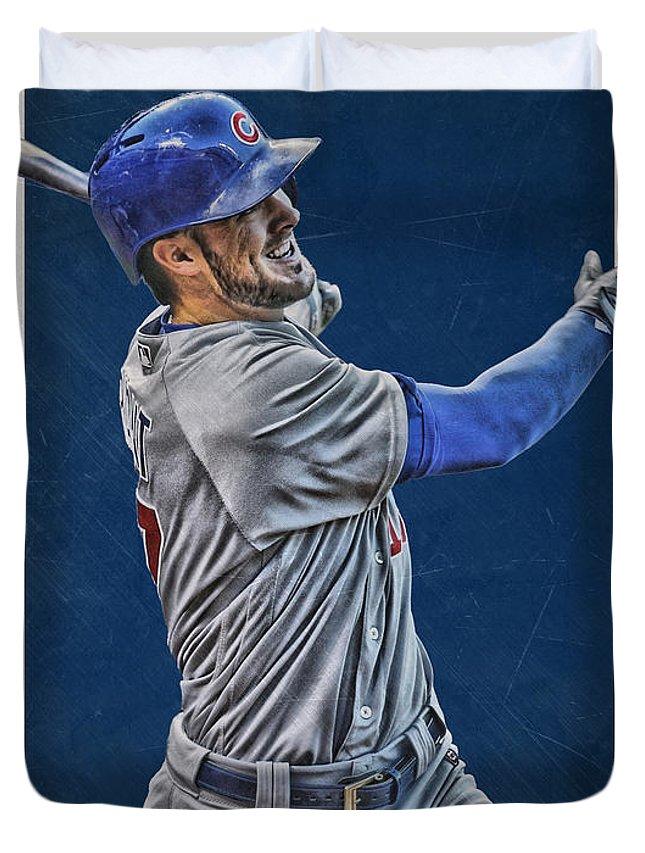 Kris Bryant Duvet Cover featuring the mixed media Kris Bryant Chicago Cubs Art 3 by Joe Hamilton