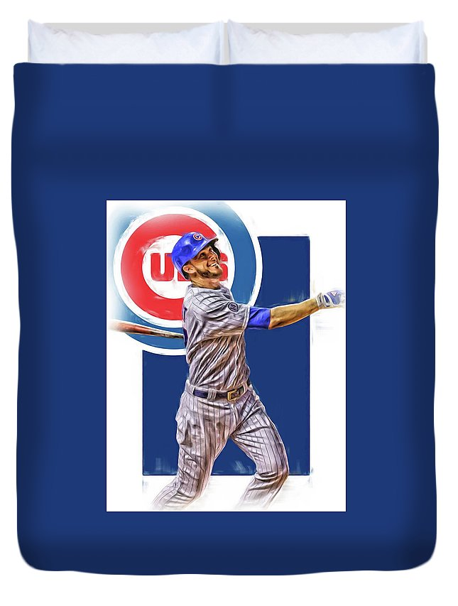 Kris Bryant Duvet Cover featuring the mixed media Kris Bryant Chicago Cubs Oil Art by Joe Hamilton