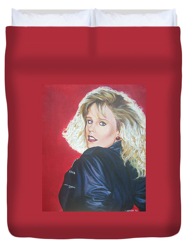 Blonde Duvet Cover featuring the painting Kristi Sommers by Bryan Bustard