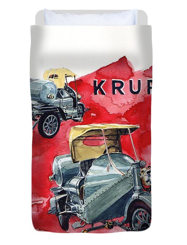 Krupp 3 Wheeler Street Sweeper Duvet Cover featuring the painting Krupp Street Sweeper by Yoshiharu Miyakawa