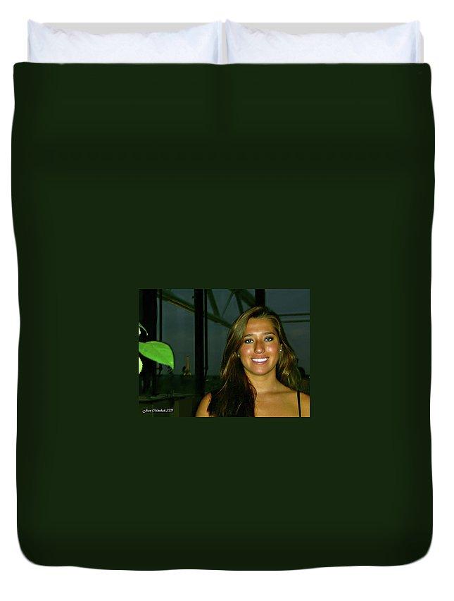 Krystal Duvet Cover featuring the digital art Krystal In Paris by Joan Minchak