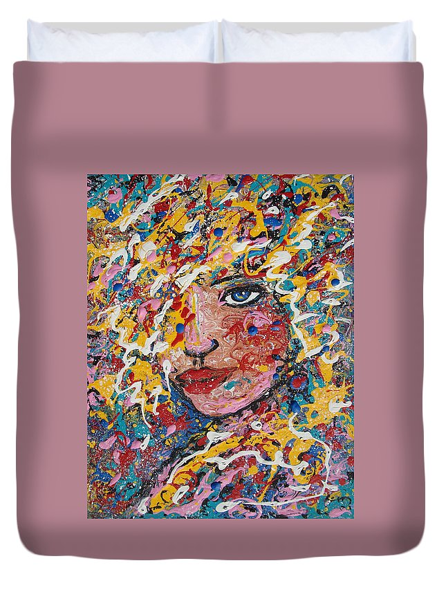 Woman Duvet Cover featuring the painting Kuziana by Natalie Holland