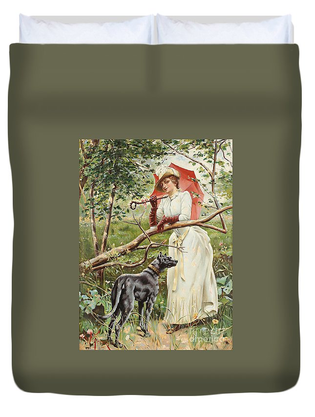 Feron Duvet Cover featuring the painting Kvinna Med Parasoll by Celestial Images