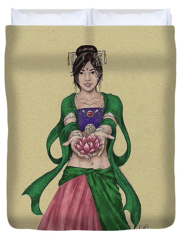 Quan Yin Duvet Cover featuring the digital art Kwan Yin by Brandy Woods