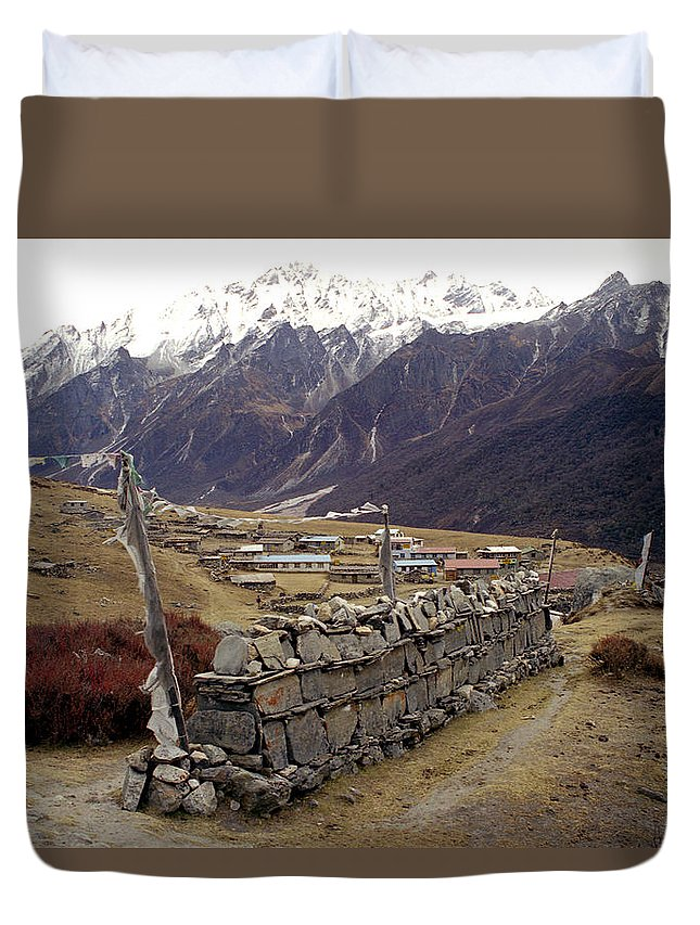 Langtang Duvet Cover featuring the photograph Kyanjin Gompa by Patrick Klauss