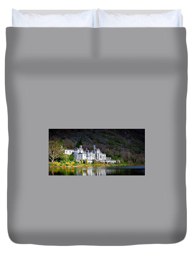 Ireland Kylemore Abbey Castle Connemara Duvet Cover featuring the photograph Kylemore Abbey by Steve Alvarado