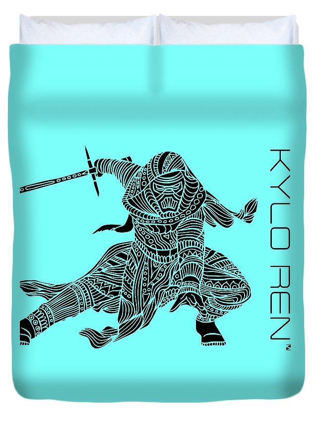 Kylo Ren Duvet Cover featuring the mixed media Kylo Ren - Star Wars Art - Blue by Studio Grafiikka