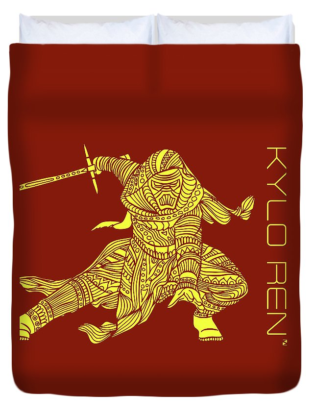 Kylo Ren Duvet Cover featuring the mixed media Kylo Ren - Star Wars Art - Red And Yellow by Studio Grafiikka