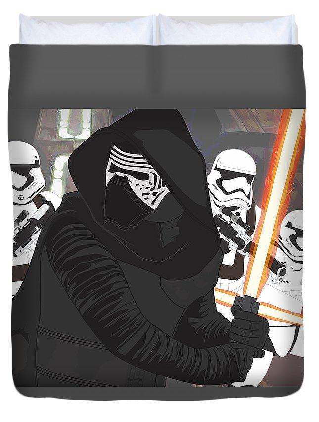Pop Art Duvet Cover featuring the digital art Kylo Ren - Star Wars by Troy Arthur Graphics