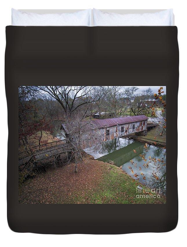 Kymulga Duvet Cover featuring the photograph Kymulga Covered Bridge Aerial 1 by Ken Johnson