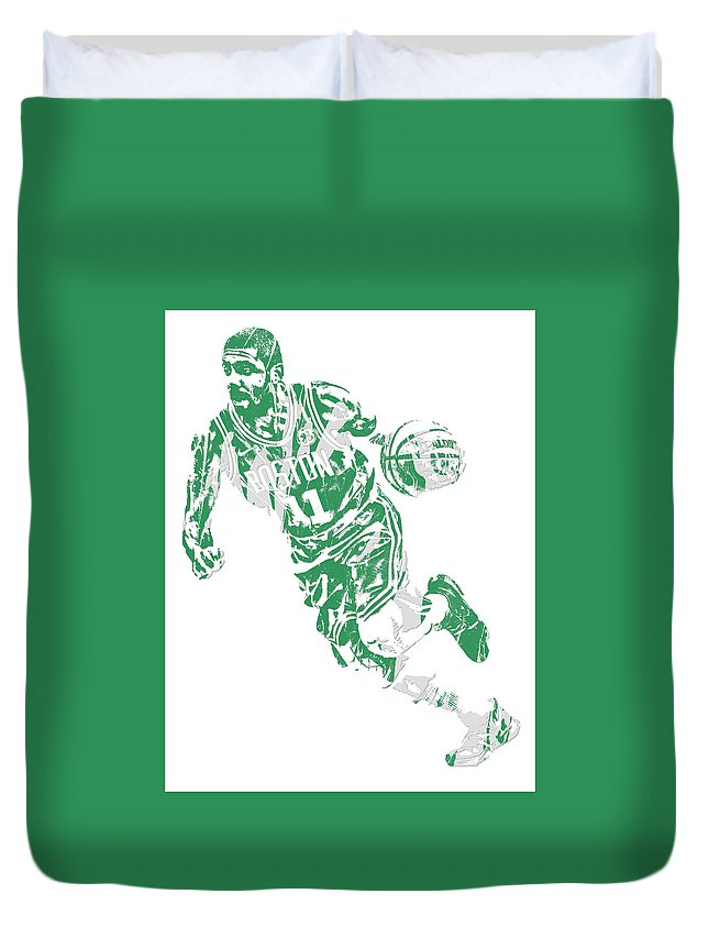 Kyrie Irving Duvet Cover featuring the mixed media Kyrie Irving Boston Celtics Pixel Art 9 by Joe Hamilton