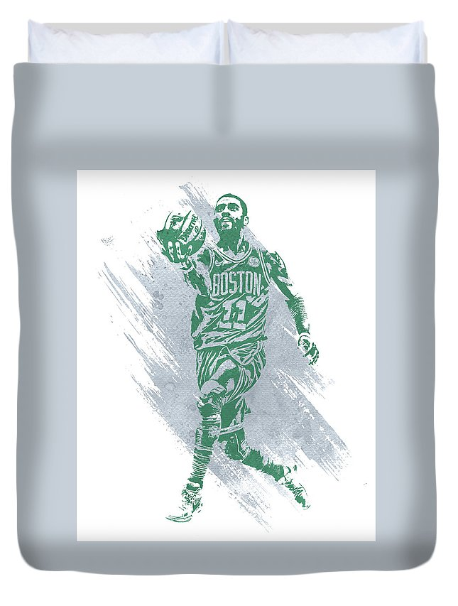 Kyrie Irving Duvet Cover featuring the mixed media Kyrie Irving Boston Celtics Water Color Art by Joe Hamilton