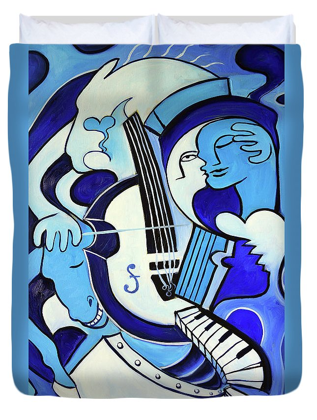 Abstract Duvet Cover featuring the painting L Amour Ou Quoi 2 by Valerie Vescovi