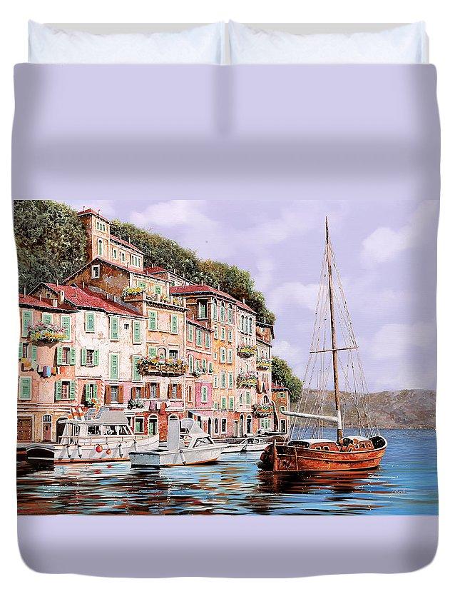 Landscape Duvet Cover featuring the painting La Barca Rossa Alla Calata by Guido Borelli