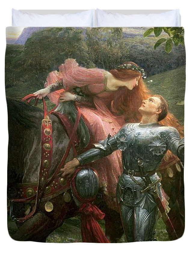 Belle Duvet Cover featuring the painting La Belle Dame Sans Merci by Sir Frank Dicksee