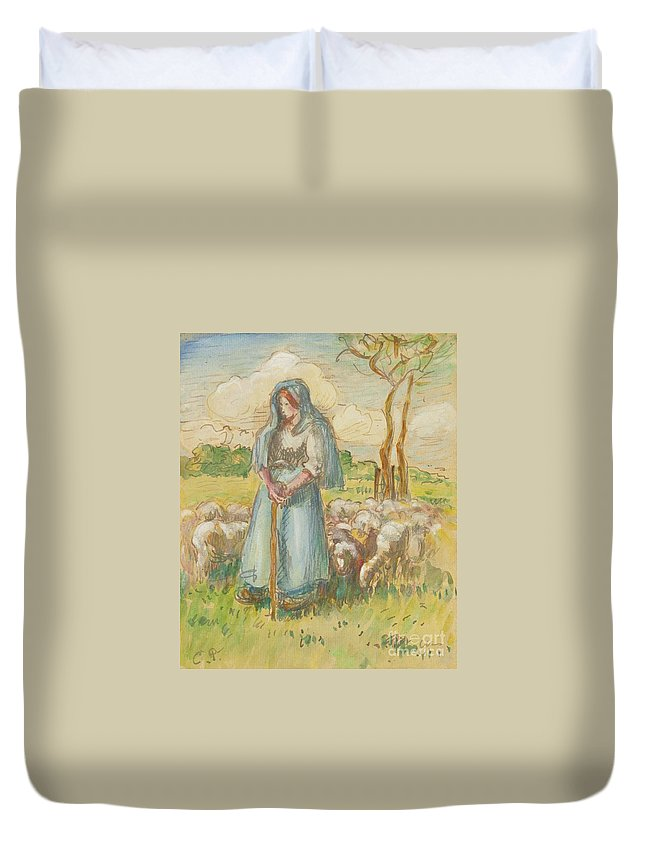 Camille Pissarro - La Berg�re. Woman Duvet Cover featuring the painting La Bergre by MotionAge Designs