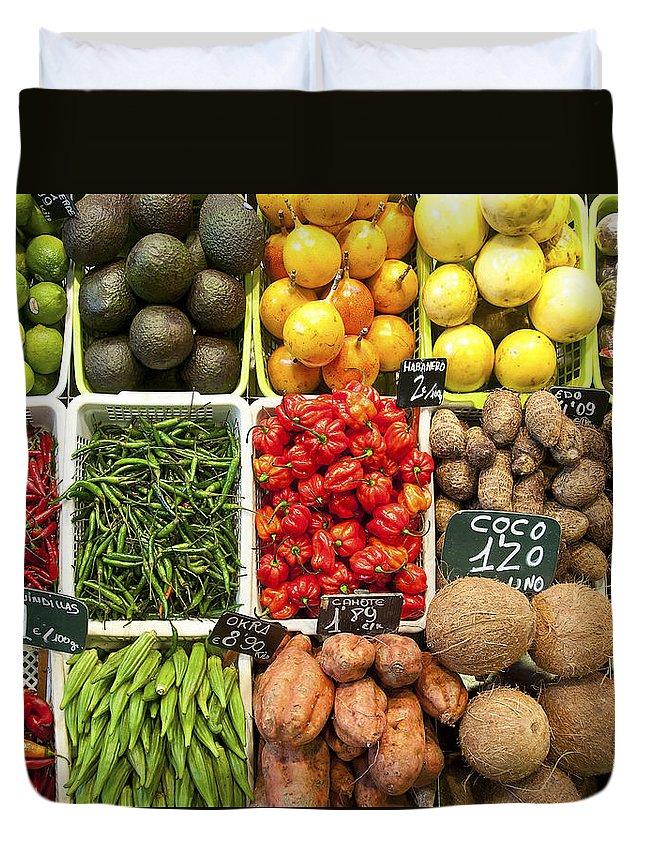La Baqueria Duvet Cover featuring the photograph La Boqueria Produce by Steven Sparks
