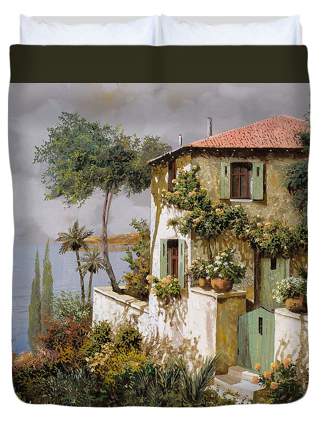 Llandscape Duvet Cover featuring the painting La Casa Giallo-verde by Guido Borelli