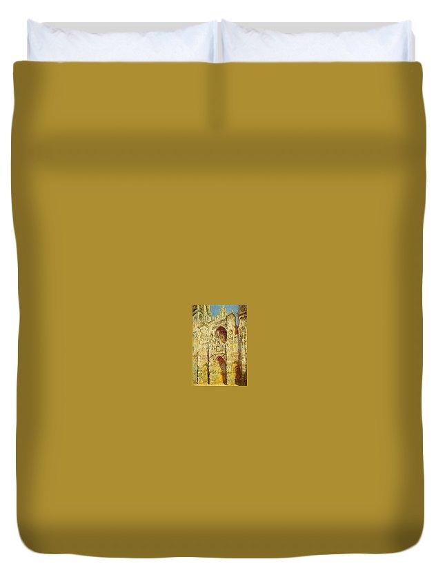 Mosaic Duvet Cover featuring the digital art La Cathedrale De Rouen Le Portail Et La Tour Saint-ro Claude Oscar Monet by Eloisa Mannion