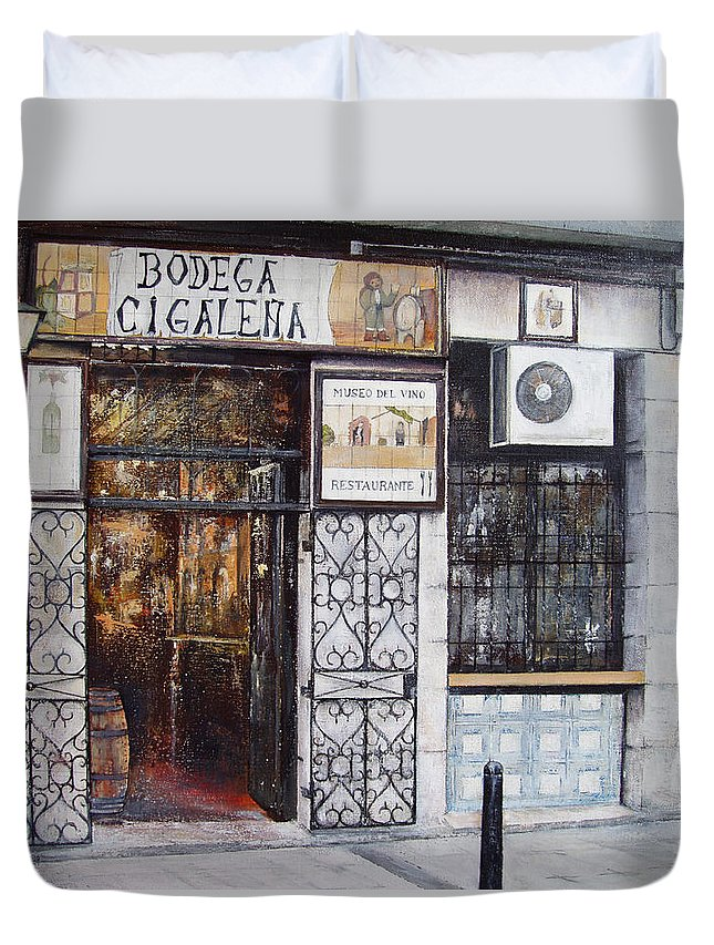 Bodega Duvet Cover featuring the painting La Cigalena Old Restaurant by Tomas Castano