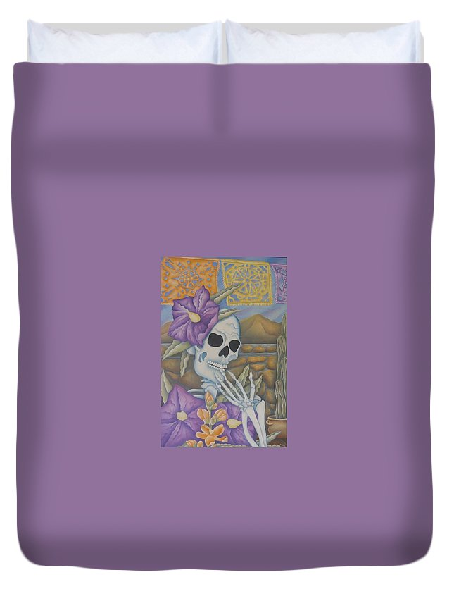Calavera Duvet Cover featuring the painting La Coqueta- The Coquette by Jeniffer Stapher-Thomas