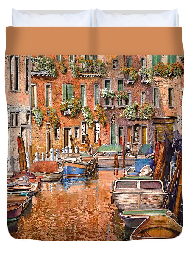 Venice Duvet Cover featuring the painting La Curva Sul Canale by Guido Borelli