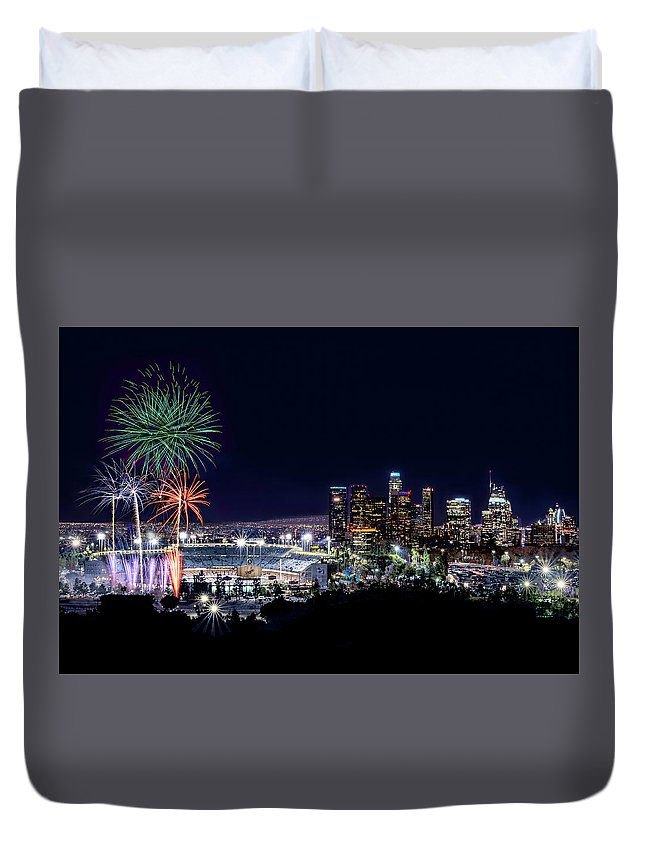 Los Angeles Duvet Cover featuring the pyrography La Dodger Fireworks by Larry Gibson