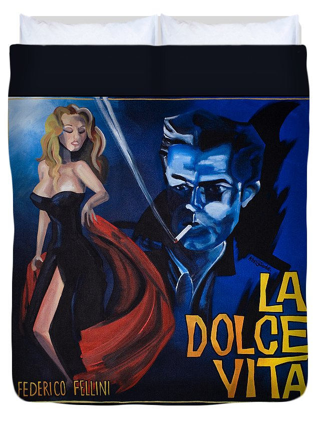 Movie Poster Duvet Cover featuring the painting La Dolce Vita by Kelly Jade King