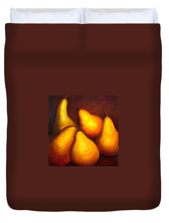 Still Life Yellow Duvet Cover featuring the painting La Familia by Shannon Grissom