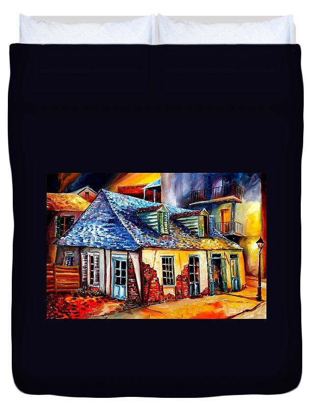 New Orleans Duvet Cover featuring the painting La Fittes Blacksmith Shop by Diane Millsap