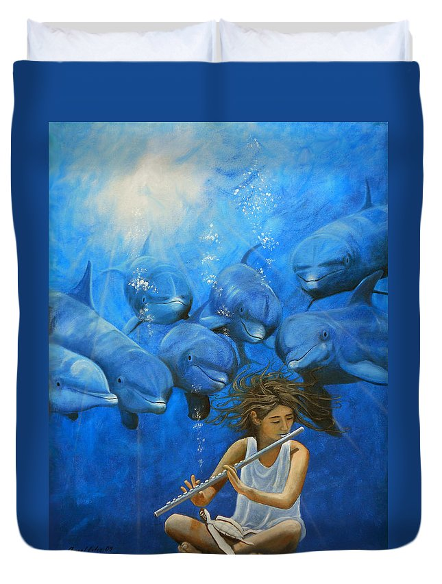 Flautista Duvet Cover featuring the painting La Flautista by Angel Ortiz