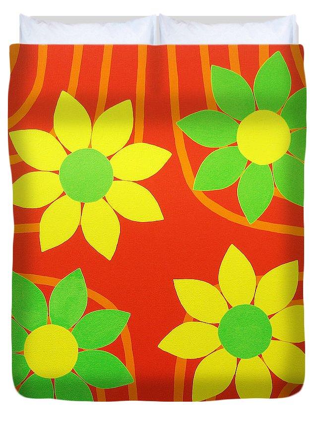 Orange Duvet Cover featuring the painting La Flor De La Vida by Oliver Johnston