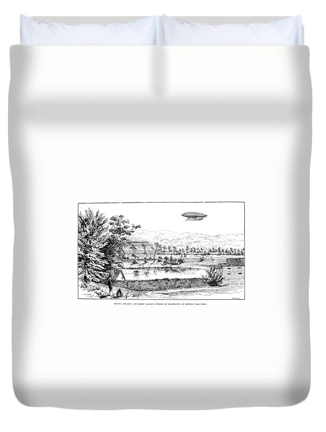 1884 Duvet Cover featuring the photograph La France Airship, 1884 by Granger