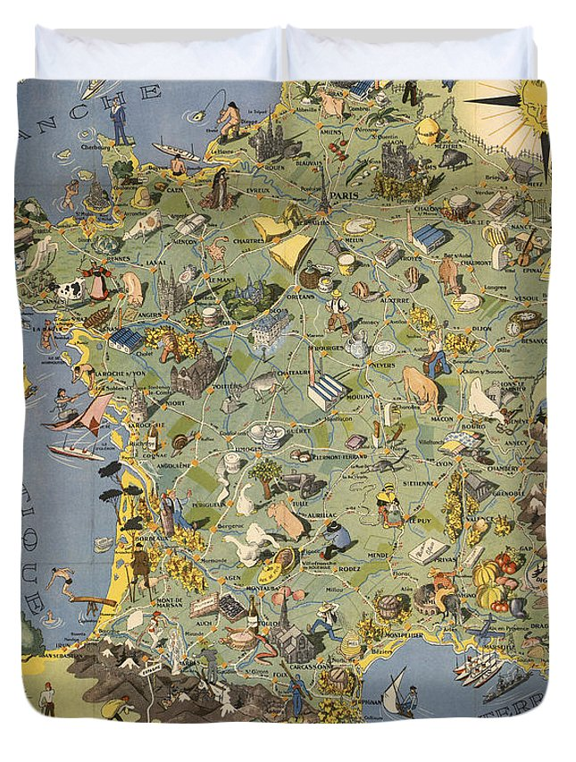 La France Map.La France Touristique Et Gastronomique Pictorial Illustrated Map