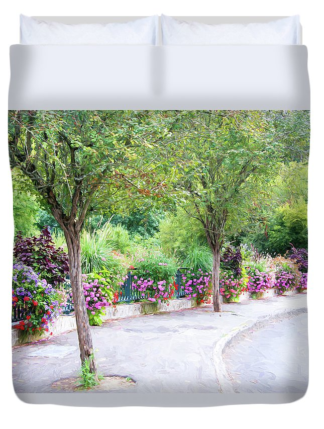 La Gacilly Duvet Cover featuring the photograph La Gacilly, Morbihan, Brittany, France, Streetscape by Curt Rush