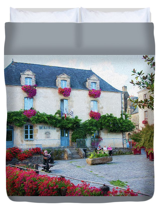 La Gacilly Duvet Cover featuring the digital art La Gacilly, Morbihan, Brittany, France, Town Hall Painting by Curt Rush
