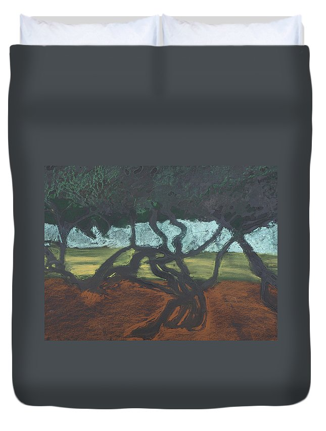 Contemporary Tree Landscape Duvet Cover featuring the mixed media La Jolla II by Leah Tomaino