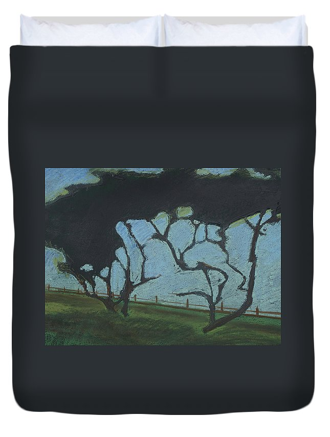 Contemporary Tree Landscape Duvet Cover featuring the mixed media La Jolla III by Leah Tomaino