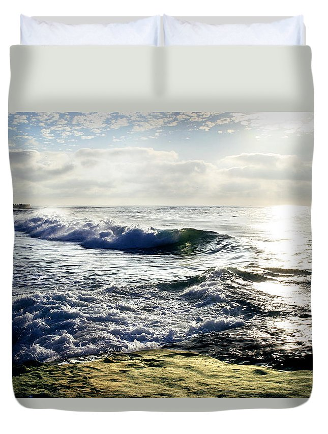 Beach Duvet Cover featuring the photograph La Jolla Towards Casa Cove by Anthony Jones