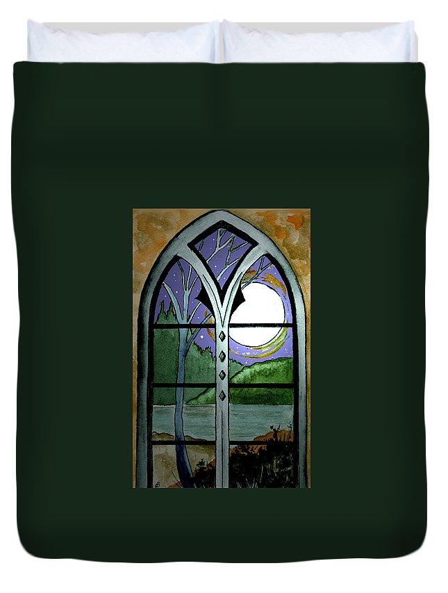 Landscape Duvet Cover featuring the painting La Luna by Brenda Owen